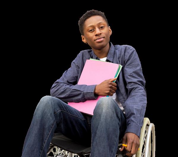 student holding folders